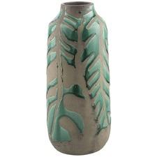 Green And Light Brown Monstero Large Ceramic Vase