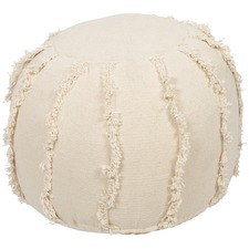 Natural Kitson Round Stone Wash Cotton Ottoman