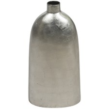 Large Ceramic Metallic Silver Lacquer Urn Vase