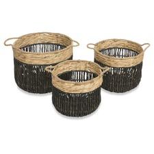 Set Of 3 Farrel Twisted Water Hyacinth Hamper Baskets