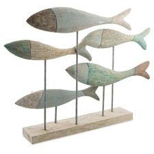 Cottesloe Washed Mango Wood School Of Fish On Stand