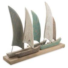 Cottesloe Washed Set Of 5 Boats On Frame