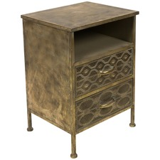 Filigree 2 Drawer Metal Bedside Table