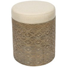 Antique Gold Filigree Round Metal Stool