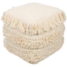 Natural Hayman Square Hand Woven Cotton Ottoman