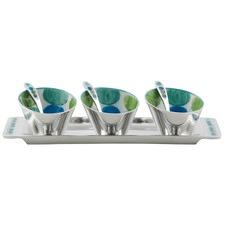 3 Piece Aluminium Multi Circle Dot Design Condiment Bowl Set