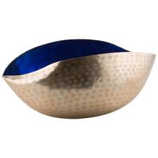 Antique Gold Outer & Cobalt Blue Inner Aluminium And Enamel Cone Bowl