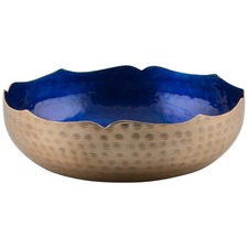 Aluminium And Enamel Sculptured Gold And Blue Round Bowl