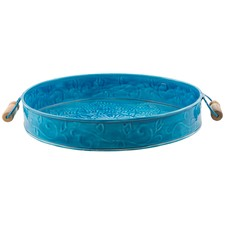 Iron And Enamel 37cm Tray With Wood Handles