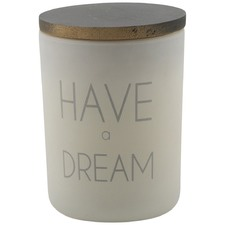 Frosted White Have A Dream Frosted Glass Candle With Wax