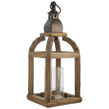 Natural Metal & Wood Lantern Candle Holder With Glass