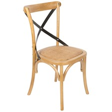 Elm Wood Chair With Rattan Seat