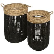 Set Of 2 Farrel Twisted Water Hyacinth Hamper Baskets