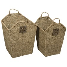 Laswon Seagrass And Ceramic Baskets (Set of 2)