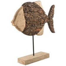Mango Wood Round Fish Statue