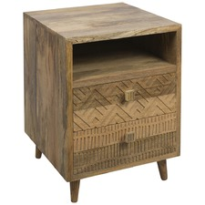 Natural Lisbon 2 Draw Bedside Table