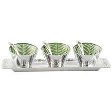 3 Piece Aluminium Palm Leaf Design Condiment Bowl Set