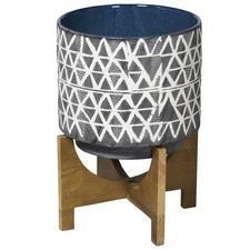 Criss Cross Ceramic Pot on Wood Stand