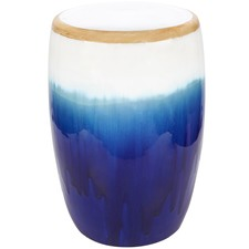 Azure Glazed Ceramic Stool