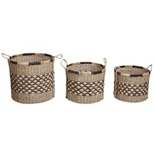 3 Piece Round Ecuador Water Hyacinth Basket Set