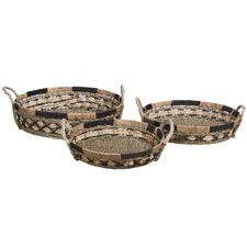 3 Piece Round Ecuador Water Hyacinth Tray Set
