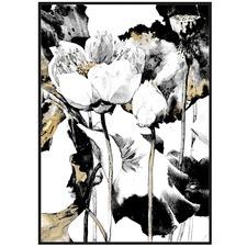 Floral Foil Framed Canvas Wall Art