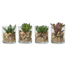 4 Piece Small Faux Succulent Plant Set