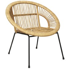 Jasper Rattan Chair with Metal Legs