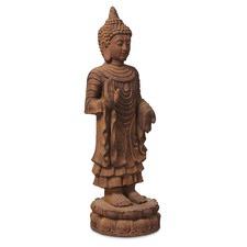 Terracotta Banyu Tall Standing Buddha Statue