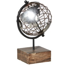 Metal World Globe on Wood Stand