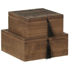 2 Piece Mini Brown Phoenix Storage Box Set