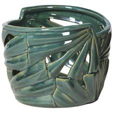 Green Tropical Leaf Ceramic Vase