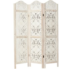 White Bohemian Cut-Out 3 Panel Room Divider
