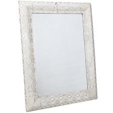 Rectangular Antique White Filigree Wall Mirror