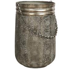 Antique Silver Filigree Hurricane Lamp