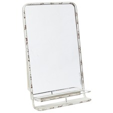 Rectangular Antique White Vertical Metal Mirror