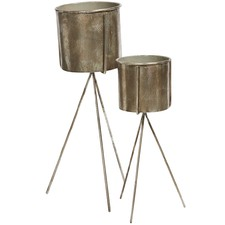 2 Piece Olivier Metal Planter & Stand Set