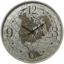 80cm Silver World Metal Wall Clock