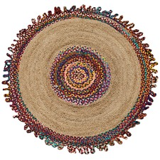 Multi-colour Round Jute & Cotton Chindi Rug