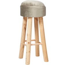 Classic Fabric Covered Wooden Bar Stool