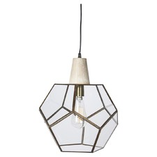 Geometric Aria Brass & Wood Pendant Light