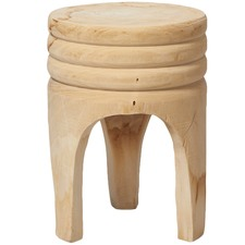 Bleached Ribbed Wood Stool
