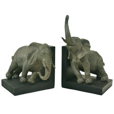 Grey Elephant Resin Bookends (Set of 2)