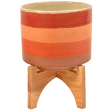 Sunset Ceramic Pot on Wood Stand