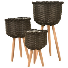 3 Piece Marina Wooden Planter Set