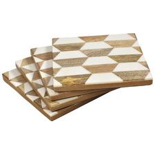 Natural & Ivory Hexagon Wood & Bone Coasters (Set of 4)