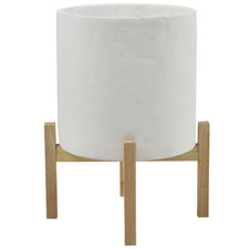 White Planter Pot with Stand