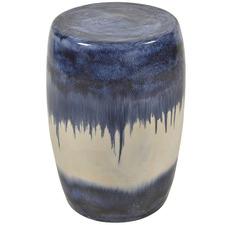 White & Blue Mediterranean Ceramic Side Table