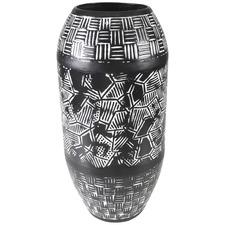 Tall White & Black Washed Zaza Iron Vase