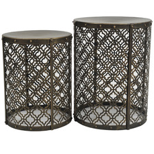 2 Piece Antique Gold Jaipur Side Table Set